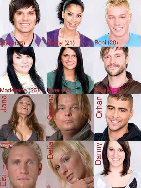 Die zwölf Bewohner des Big Brother Hauses (15.12.2008)
