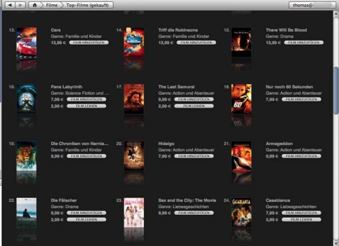 Filmauswahl im deutschen iTunes-Store