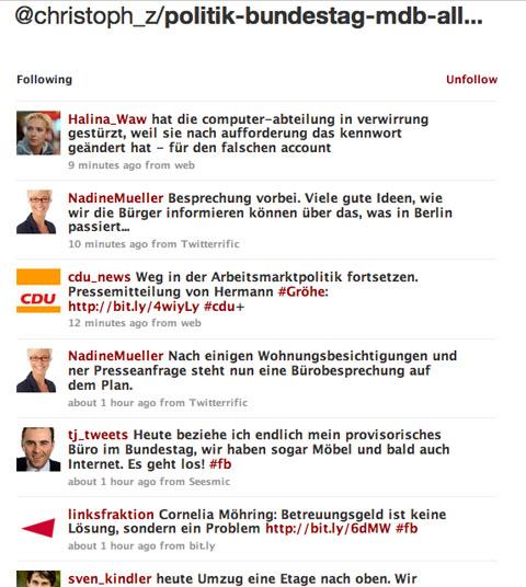 Macht Sinn: Bundestagsliste bei Twitter